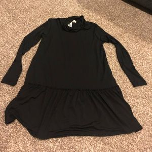 NWT Black Cowl Neck Ruffle Hem Dress